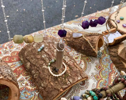 Local handmade jewelry is available monthly at the Sunday Artisans Market in Claremont.