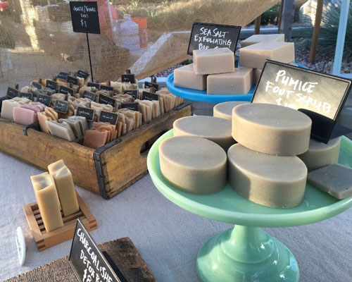 Handmade soap is available at the Claremont Forum Artisans Market.